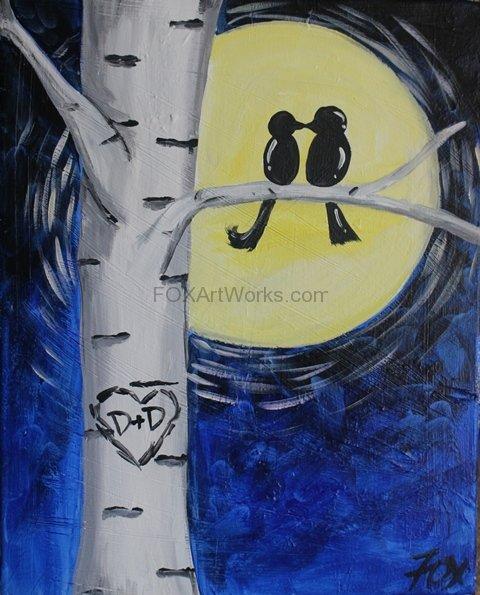 Lovebirds Moonlight